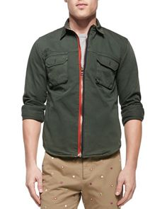 Zip-Front Twill Shirt Jacket, Army Green  by Band of Outsiders at Neiman Marcus.
