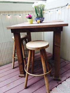 Breakfast nook and evening bistro. Small patio ideas. Shabby chic