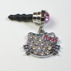Amazon.com: Cute Hello Kitty Jeweled Pink Round Gem Cell Phone Charm 3.5mm. Headphone Jack Anti Dust Plug for Mobile Iphone Android HTC Tablet Ipod Ereader: Cell Phones & Accessories