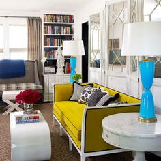 Yellow sofa, black piping, white painted frame, YES please! Patrick Mele Interview - Patrick Mele Design - House Beautiful