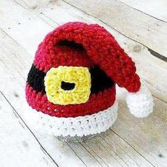 Crochet Santa Buckle Hat Beanie Cap Infant Newborn Baby Toddler Child Adult Handmade Baby Shower Gift Photography Photo Prop