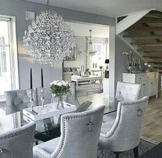 Luxury 24 Modern Table Dining Room Design In 2019 - Home Decor Interior Dining Room Table Decor, Dining Room Design, Dining Room Furniture, Living Room Decor, Furniture Stores, Dining Rooms, Furniture Design, Dining Room Chandeliers, Glamour Living Room