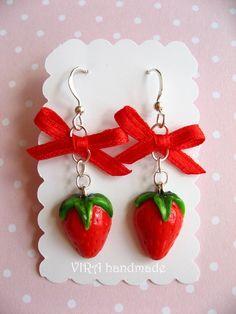 Kawaii cute realistic strawberry with bowknot earrings