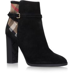 Burberry Stebbingford Ankle Boots (31,845 PHP) ❤ liked on Polyvore featuring shoes, boots, ankle booties, burberry boots, suede bootie, short boots, short suede boots and block heel booties
