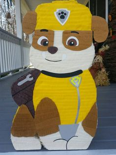 ***Please add the date of your event on your order*** Allow 3 to 4 weeks to make and arrive to your doorstep.  Rubble paw patrol pinata  20 inches