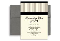 homemade graduation invatations   2014 Stripes Pattern Background Graduation Announcement Design 5x7 in ...