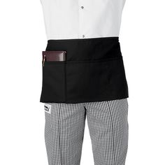 "A half chef apron Product description  Ingredient: 7.5 oz 65/35 poly/cotton twill Color : black, white Size: 34"" W * 22"" L or customized  Place of origin: Viet Nam  MOQ: 1container 20"" OEM/ODM: Available"