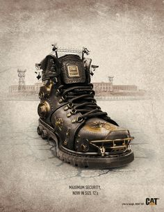 Advertising Campaign : Caterpillar Work Boots Ad purchase your pink Florsheim Slip-On and Velcro s Creative Shoes, Ads Creative, Creative Posters, Creative Advertising, Shoe Advertising, Advertising Poster, Advertising Campaign, Advertising Design, Caterpillar Boots
