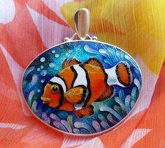 SOLD. Specially designed for Jill. Clownfish. pendant. cloisonne enamel. jewelry, sterling silver
