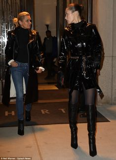Bella Hadid spends her Valentine's Day with mom Yolanda in NYC Runway Fashion, Fashion Models, Fashion Beauty, Patent Trench Coats, Black Sock Boots, Mother Daughter Dates, Vinyl Clothing, Bella Hadid Style, Pantyhose Outfits