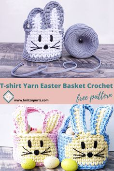 T-shirt Yarn Easter Basket Crochet free pattern. Easy and quick pattern is perfect for Easter #easterbunnycrochet #crochetbasket #bunnybasket #eastercrochet #easterpattern Crochet Pumpkin Pattern, Quick Crochet Patterns, Crochet Slipper Pattern, Easter Crochet Patterns, Crochet Basket Pattern, Crochet Baskets, Crochet Ideas, Crochet Projects, Crochet Yarn