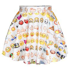 White Funny Emoji Printed Womens Fashion Pleated Skirt ($14) ❤ liked on Polyvore