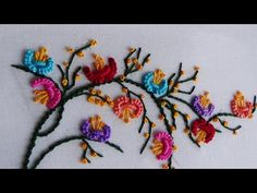 Hand Embroidery: Mixed Brazillian Embroidery On Branches Brazilian Embroidery Stitches, Basic Embroidery Stitches, Hand Embroidery Videos, Hand Embroidery Flowers, Ribbon Embroidery, Embroidery Patterns, Saree Embroidery Design, Crazy Quilt Blocks, Diy Gift Box