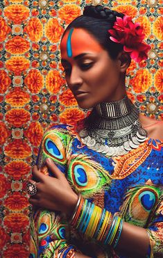 [[MORE]]Vibrant oriental bridal fashion photography by Anushka Menon Peacock Dress, Peacock Fabric, Peacock Print, Peacock Feathers, Fashion Mode, Fashion Art, Editorial Fashion, Wild Fashion, Woman Fashion