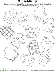 Za van maken Winter Kindergarten Holiday Worksheets: Mitten Mix and Match Winter Kids, Winter Art, Winter Holiday, Winter Thema, Daycare Themes, Winter Project, Worksheets For Kids, Seasons Worksheets, Matching Worksheets