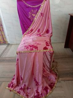 Satin shibouri sarees with blouse embroidery and mirror work lace Shibori Sarees, Mirror Work, Blouse Designs, Satin, Blouses, Embroidery, Lace, Beauty, Fashion