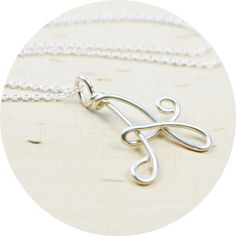Letter A Initial/Monogram Pendant- Sterling Silver Filled Wire Wrapped Pendant Necklace