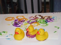 D is for Duck -- painting with rubber ducks