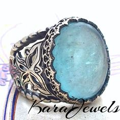 925 Sterling Silver ring with genuine Aquamarine