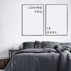 Loving You Is Easy, Love quote, Love print, Love Quotes, Love gift, Love poster, Love words, Love decor, Love printable, Bedroom prints, Bedroom decor, Anniversary gifts, Bedroom posters, Love wall art, Love quote print *** Enjoy 30% saving when you purchase 3 or more prints! Enter code SAVE30 at checkout *** Simply download your files & print them to style and decorate your home. PLEASE NOTE, THIS IS A DIGITAL DOWNLOAD ONLY. No physical product will be shipped and the frame is not incl...