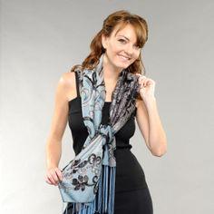 Scroll Flower 7 way convertible Scarf #denim #7wayscarf #scarf #convertiblescarf #versatilescarf #jacketscarf #halterback #offshoulder #neckwrap #7wayscarf 7 Way Scarf by M/M Couture Www.7wayscarf.com