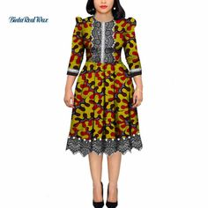 Online Shop African Dresses for Women Pearls Bazin Riche Wax Print Patchwork Dresses Dashiki African Style Long Sleeve Dresses African Dresses Plus Size, Short African Dresses, African Lace Styles, Latest African Fashion Dresses, African Shirt Dress, African Print Shirt, African Print Fashion, Dress Shirts For Women, Clothes For Women