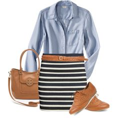 Easy and cute spring outfit. Casual, but still work appropriate. Blue button down and striped skirt