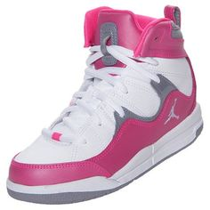 Nike Girls Preschool Jordan Flight TR 97 Basketball Shoes PinkGreyWhite 110