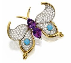 Amethyst, Turquoise and Diamond Butterfly Brooch, Schlumberger for Tiffany & Co.