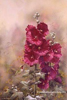 """Summer Rubies"" - by Catherine McClung Watercolor Flowers, Watercolor Paintings, Watercolors, Painting Flowers, Victorian Flowers, Great Paintings, Hollyhock, Jolie Photo, Wildlife Art"