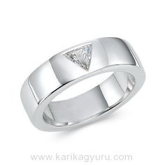 One of our best selling wedding bands from him to him. A sparkling triangle cut diamond set flush in Platinum. Diamond Bands, Diamond Cuts, Wedding Bands, White Gold, Rose Gold, Engagement Rings, Modern, Diamonds, Jewellery