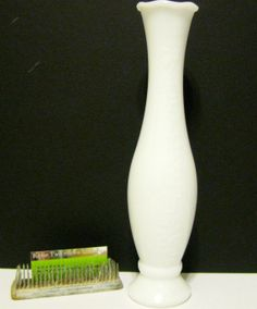 Vintage milkglass vase with floral detail by katietwoshoesvintage, $15.00