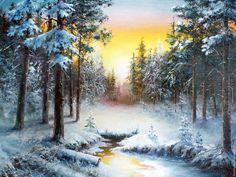 Купить Пейзаж маслом_Зимний звон_Владимир Чернов - комбинированный, пейзаж, картина, подарок, масляная живопись, зима