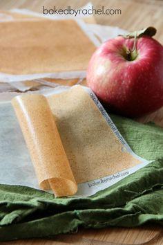 Apple Cinnamon Fruit Leather Recipe from bakedbyrachel.com
