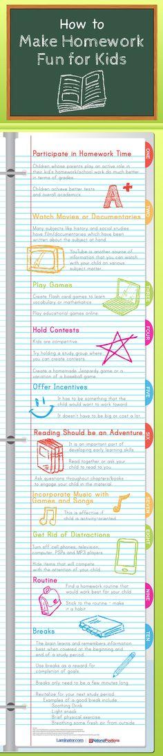 How To Make Homework Fun For Kids #infographic #Education #HomeWork