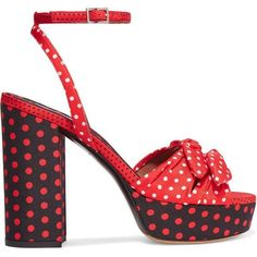 Tabitha Simmons Jodie polka-dot twill platform sandals ($625) ❤ liked on Polyvore featuring shoes, sandals, red, high heel shoes, red strappy sandals, strappy sandals, platform sandals and high heels sandals #platformhighheelsred #platformhighheelspolkadots