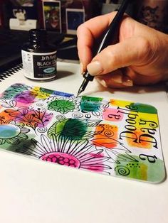 1. Doodle on Art Pops™ Card with ink and nib.