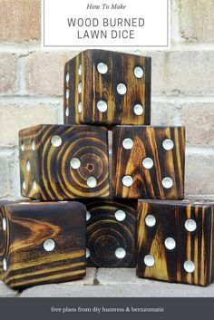 How to make wood burned dice - great backyard game! #diy #outdoorgame
