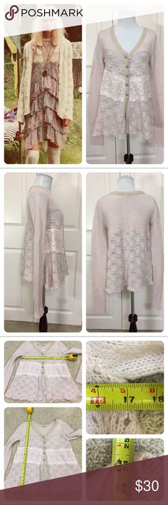 Free People Honeysuckle Years Crochet lace sweater Free People Honeysuckle Years Crochet lace sweater. Pale pink with ivory lace. Pretty buttons. No flaws noted. Free People Sweaters Cardigans