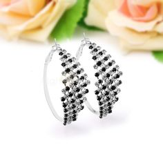 1 par Nuevo #Pendientes #Aretes Cristal Negro Blanco #Dianmantes Joyería Elegante