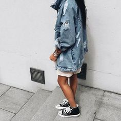 $60 Black And White High Top Converse Sneakers With Ripped Frayed Dark Blue Over-Sized Denim Jean Jacket