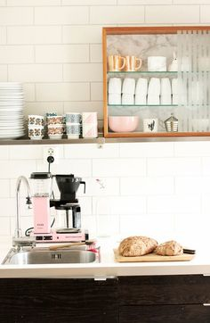 Cute kitchen #storage idea ledge with spices and expresso cups