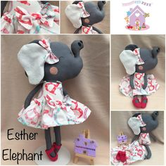 Dress up Doll Cloth Doll baby doll Strawberry Shortcake by cocomia Strawberry Dress, Strawberry Shortcake, Sewing Clothes, Doll Clothes, Elephant Dress, Dolls And Daydreams, Dress Up Outfits, Dresses, Handmade Soft Toys