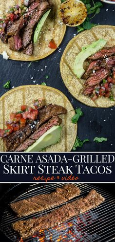 Grilled Carne Asada Tacos made with marinaded skirt steak makes a great taco nig. - Grilled Carne Asada Tacos made with marinaded skirt steak makes a great taco night! The skirt steak - Skirt Steak Recipes, Steak Marinade Recipes, Grilling Recipes, Beef Recipes, Mexican Food Recipes, Meat Marinade, Thin Steak Recipes, Oats Recipes, Marinades For Steak