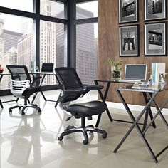 Modern Black Mesh Back Ergonomic Office Chair with Flip-up Arms