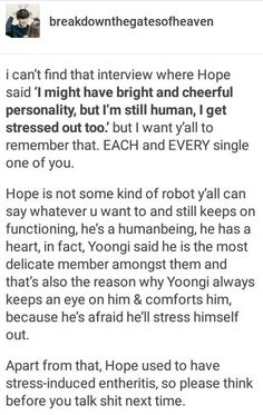 Hope is a scaredy cat and has such a warm heart, please appreciate that!   BTS - Hobi Ignore the swear words.
