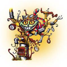 Steampunk Chesire Cat digi stamp in Digital images - Alice in Wonderland