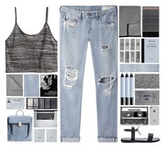 """""""last night, i lay in bed so blue"""" by annisaamara ❤ liked on Polyvore featuring rag & bone/JEAN, H&M, Barneys New York, Dogeared, shu uemura, Aquanova, Vellux, CASSETTE, Isapera and 3.1 Phillip Lim"""