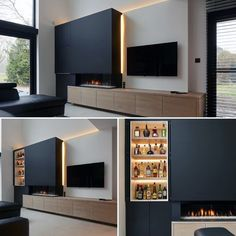 Remarkable Ideas For Tv Wall Transform your living room entertainment space with the top 70 best TV wall ideas. Explore cool television displays and wall design inspiration. Living Room Decor Fireplace, Fireplace Tv Wall, Living Room Wall Units, Living Room Tv Unit Designs, Fireplace Design, Home Living Room, Wall Cabinets Living Room, Kitchen Living, Tv Wall Cabinets