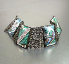 Vintage Bracelet Persian Enamel Silver Filigree by zephyrvintage, $55.00